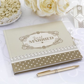 Gästebuch 'Just Married' - Creme/Gold
