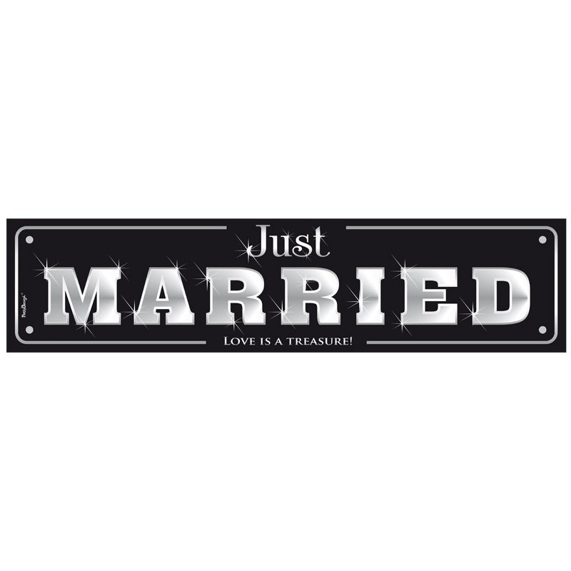 plaque voiture just married noire boutique mariage the weddingshop. Black Bedroom Furniture Sets. Home Design Ideas